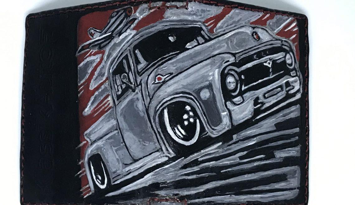 Ręcznie robiony porfel skórzany z obrazem Forda F